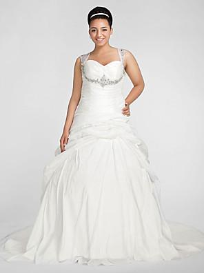 cheap Wedding Dresses-Ball Gown Wedding Dresses Sweetheart Neckline Chapel Train Taffeta Sleeveless Sparkle & Shine with Pick Up Skirt Ruched Beading 2020