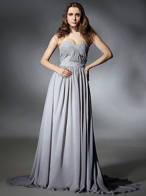 cheap Cocktail Dresses-Sheath / Column Celebrity Style Inspired by Emmy Formal Evening Dress Strapless Sweetheart Neckline Sleeveless Sweep / Brush Train Chiffon with Pleats Beading Draping 2020