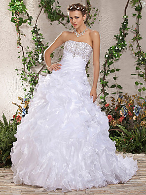 cheap Wedding Dresses-Ball Gown Wedding Dresses Strapless Court Train Organza Sleeveless with 2020