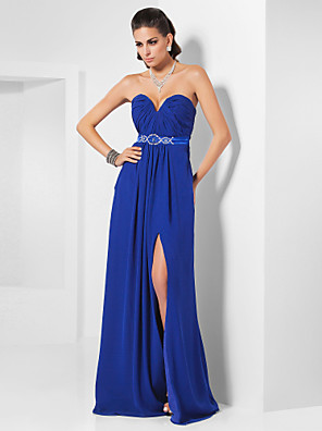 cheap Special Occasion Dresses-Sheath / Column Furcal Formal Evening Dress Strapless Sweetheart Neckline Sleeveless Floor Length Chiffon Stretch Satin with Sash / Ribbon Crystals Beading 2020