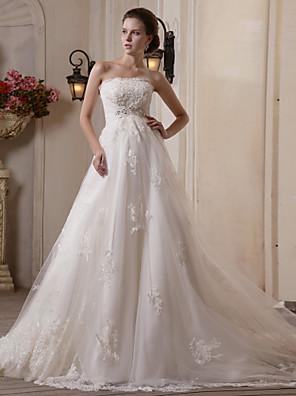 cheap Wedding Dresses-Princess A-Line Wedding Dresses Strapless Scalloped-Edge Chapel Train Satin Tulle Sleeveless with 2020