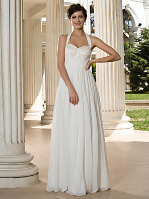 cheap Wedding Dresses-A-Line Wedding Dresses Halter Neck Floor Length Chiffon Sleeveless See-Through with Sequin Criss-Cross 2020