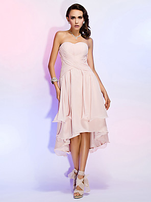 cheap Special Occasion Dresses-Back To School Sheath / Column Elegant Homecoming Cocktail Party Dress Sweetheart Neckline Sleeveless Asymmetrical Chiffon with Criss Cross Draping 2020 Hoco Dress
