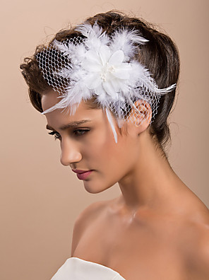 cheap Fascinators-Gorgeous Tulle Feather Wedding Bridal Flower/ Corsage/ Headpiece
