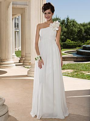 cheap Wedding Dresses-Sheath / Column Wedding Dresses One Shoulder Floor Length Chiffon Sleeveless See-Through with Flower Criss-Cross Side-Draped 2020