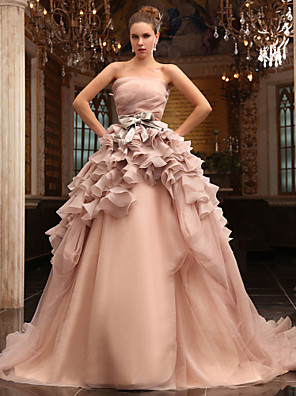 cheap Wedding Dresses-Ball Gown Wedding Dresses Strapless Chapel Train Tulle Sleeveless Wedding Dress in Color with 2020