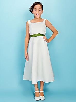 cheap Junior Bridesmaid Dresses-Princess / A-Line Square Neck Tea Length Satin Junior Bridesmaid Dress with Sash / Ribbon / Bow(s) / Spring / Fall / Winter / Apple / Hourglass