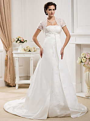 cheap Wedding Dresses-Princess A-Line Wedding Dresses Strapless Court Train Organza Satin Sleeveless with 2020 / Yes