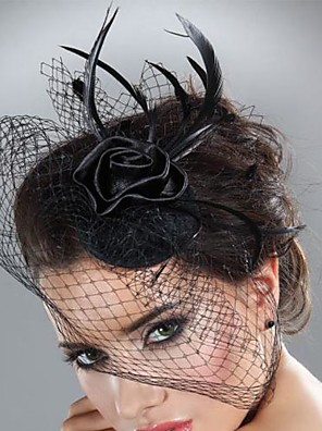 cheap Fascinators-Tulle / Feather Fascinators with Feathers / Fur 1pc Wedding / Special Occasion / Horse Race Headpiece