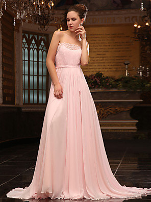 cheap Evening Dresses-Ball Gown Elegant Formal Evening Military Ball Dress Strapless Sleeveless Sweep / Brush Train Chiffon Satin Chiffon with Sash / Ribbon Beading Sequin 2020