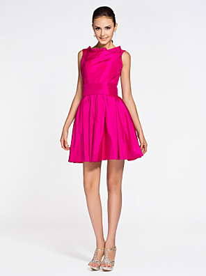 cheap Bridesmaid Dresses-Princess / A-Line Bateau Neck Short / Mini Taffeta Bridesmaid Dress with Pleats / Draping / Open Back