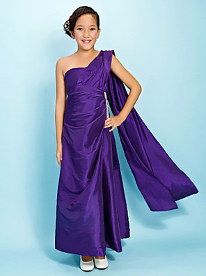 cheap Bridesmaid Dresses-Princess / A-Line One Shoulder Watteau Train / Ankle Length Taffeta Junior Bridesmaid Dress with Beading / Side Draping / Spring / Fall / Winter / Apple / Hourglass