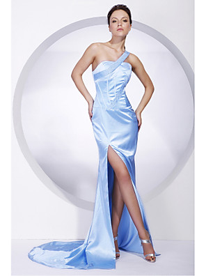 cheap Cocktail Dresses-Mermaid / Trumpet All Celebrity Styles Inspired by Cannes Film Festival Formal Evening Military Ball Dress One Shoulder Sleeveless Sweep / Brush Train Charmeuse with Beading Split Front 2020