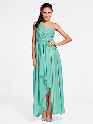 cheap Bridesmaid Dresses-Sheath / Column One Shoulder / Sweetheart Neckline Asymmetrical / Ankle Length Chiffon Bridesmaid Dress with Ruched / Draping / Side Draping / Open Back