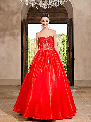 cheap Prom Dresses-Ball Gown Vintage Inspired Quinceanera Prom Formal Evening Dress Strapless Sweetheart Neckline Sleeveless Floor Length Organza with Crystals Beading Draping 2020