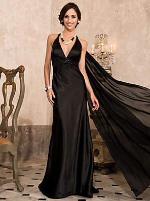 cheap Special Occasion Dresses-Sheath / Column Celebrity Style Open Back Formal Evening Military Ball Dress Plunging Neck Sleeveless Watteau Train Sweep / Brush Train Chiffon Stretch Satin with Beading Draping 2020