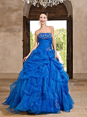 cheap Special Occasion Dresses-Ball Gown Vintage Inspired Quinceanera Formal Evening Dress Strapless Sleeveless Floor Length Organza with Beading Cascading Ruffles 2020