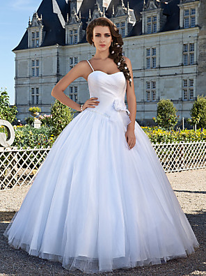 cheap Wedding Dresses-Ball Gown Wedding Dresses Sweetheart Neckline Floor Length Tulle Sleeveless with 2020