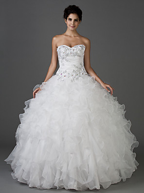cheap Wedding Dresses-Ball Gown Wedding Dresses Strapless Sweetheart Neckline Floor Length Organza Taffeta Sleeveless Sparkle & Shine with 2020
