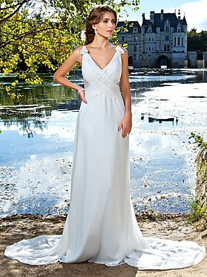 cheap Special Occasion Dresses-Ball Gown Open Back Formal Evening Military Ball Dress Straps V Neck Sleeveless Watteau Train Floor Length Satin Chiffon with Criss Cross Draping Flower 2020