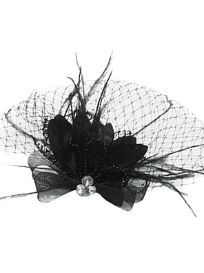 cheap Fascinators-Tulle / Crystal / Feather Tiaras / Birdcage Veils with 1 Wedding / Special Occasion / Party / Evening Headpiece / Fabric
