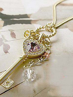 cheap Quartz Watches-Women's Crystal Pendant Necklace Solitaire faceter Keys Heart Love Elegant Crystal Alloy Gold Silver Crown Necklace Jewelry For Party Thank You Daily Valentine