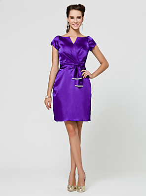 cheap Bridesmaid Dresses-Sheath / Column V Neck / Notched Knee Length Stretch Satin Bridesmaid Dress with Sash / Ribbon / Criss Cross / Beading
