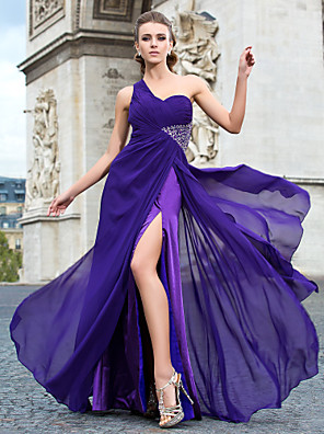 cheap Special Occasion Dresses-Sheath / Column Classic & Timeless Cut Out Formal Evening Military Ball Dress One Shoulder Sleeveless Floor Length Chiffon with Beading Split Front 2020