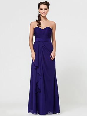 cheap Special Occasion Dresses-Sheath / Column Strapless / Sweetheart Neckline / Spaghetti Strap Floor Length Chiffon Bridesmaid Dress with Criss Cross / Open Back
