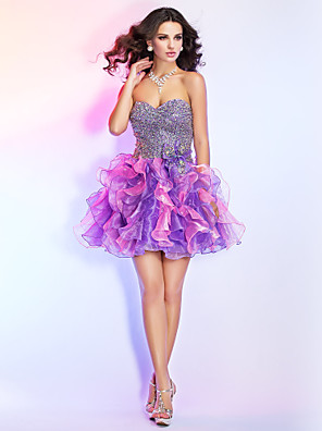 cheap Special Occasion Dresses-Ball Gown Sparkle & Shine Open Back Homecoming Cocktail Party Prom Dress Strapless Sweetheart Neckline Sleeveless Short / Mini Organza with Bow(s) Beading Sequin 2020