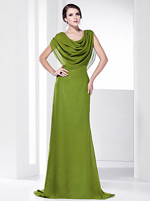 cheap Special Occasion Dresses-Sheath / Column Elegant Green Wedding Guest Formal Evening Dress Scoop Neck Sleeveless Sweep / Brush Train Chiffon with Draping 2020