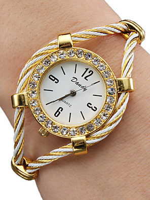 cheap Quartz Watches-Women's Ladies Fashion Watch Bracelet Watch Diamond Watch Quartz Sparkle Gold Analog - Gold One Year Battery Life / SSUO 377