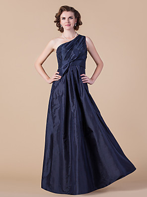 cheap Mother of the Bride Dresses-A-Line Mother of the Bride Dress One Shoulder Floor Length Taffeta Sleeveless with Sash / Ribbon Bow(s) Side Draping 2020
