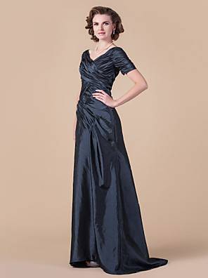 cheap Special Occasion Dresses-A-Line Mother of the Bride Dress Vintage Inspired V Neck Floor Length Taffeta Short Sleeve with Criss Cross 2020