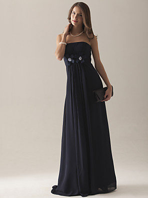 cheap Bridesmaid Dresses-Empire Strapless Floor-length Chiffon Over Satin Bridesmaid Dress