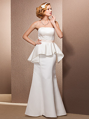 cheap Wedding Dresses-Mermaid / Trumpet Wedding Dresses Strapless Floor Length Satin Sleeveless with 2020