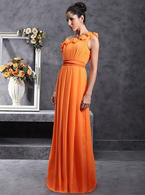 cheap Bridesmaid Dresses-Sheath / Column One Shoulder Floor Length Chiffon Bridesmaid Dress with Pleats / Draping / Flower