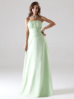 cheap Bridesmaid Dresses-Ball Gown / A-Line Strapless Floor Length Chiffon Bridesmaid Dress with Ruched / Draping