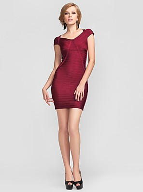cheap Special Occasion Dresses-Sheath / Column V-neck Short / Mini Rayon Cocktail Party Dress with Bandage by
