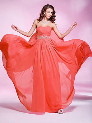 cheap Special Occasion Dresses-Sheath / Column Elegant Prom Formal Evening Dress Sweetheart Neckline Sleeveless Floor Length Georgette with Pleats Beading 2020