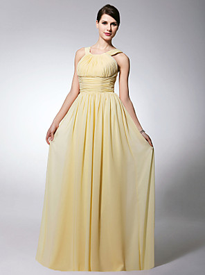 cheap Bridesmaid Dresses-Sheath / Column Straps Floor Length Chiffon Bridesmaid Dress with Pleats / Ruched / Draping / Open Back