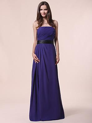 cheap Bridesmaid Dresses-Princess / A-Line Strapless Floor Length Chiffon Bridesmaid Dress with Sash / Ribbon / Draping / Side Draping