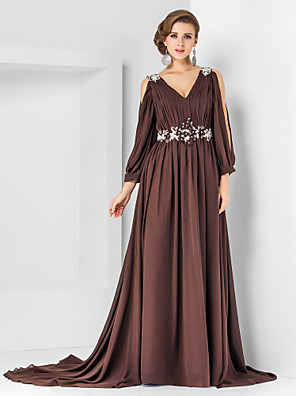 cheap Evening Dresses-A-Line Elegant Empire Formal Evening Dress V Neck Long Sleeve Court Train Chiffon with Pleats Appliques 2020