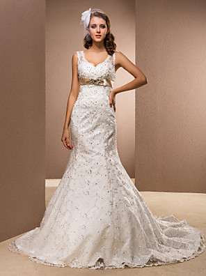 cheap Wedding Dresses-Mermaid / Trumpet Wedding Dresses V Neck Court Train Satin Sleeveless Sparkle & Shine with 2020
