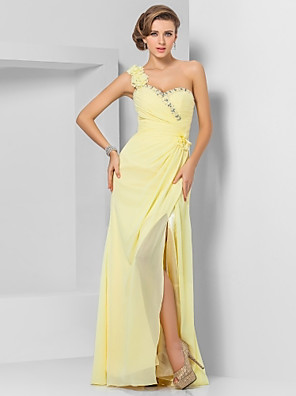 cheap Bridesmaid Dresses-Sheath / Column Floral Yellow Wedding Guest Prom Dress One Shoulder Sleeveless Floor Length Chiffon with Crystals Split Appliques 2020