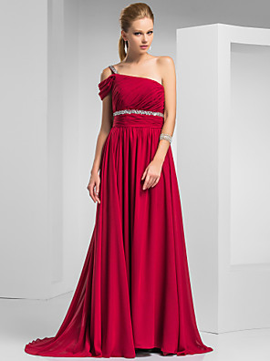 cheap Special Occasion Dresses-Sheath / Column Elegant Prom Formal Evening Dress One Shoulder Short Sleeve Sweep / Brush Train Chiffon with Ruched Beading 2020