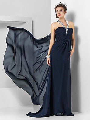 cheap Evening Dresses-Sheath / Column Empire Blue Wedding Guest Formal Evening Dress Halter Neck Sleeveless Sweep / Brush Train Chiffon with Appliques Split Front 2020