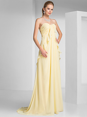 cheap Cocktail Dresses-Sheath / Column Beautiful Back Formal Evening Military Ball Dress Strapless Sleeveless Sweep / Brush Train Chiffon with Ruched Ruffles 2020