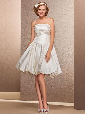 cheap Wedding Dresses-Ball Gown A-Line Wedding Dresses Strapless Knee Length Satin Sleeveless Little White Dress with 2020