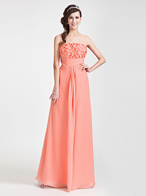cheap Special Occasion Dresses-Sheath / Column Floral Open Back Formal Evening Wedding Party Dress Strapless Sleeveless Floor Length Chiffon with Criss Cross Ruched Side Draping 2020